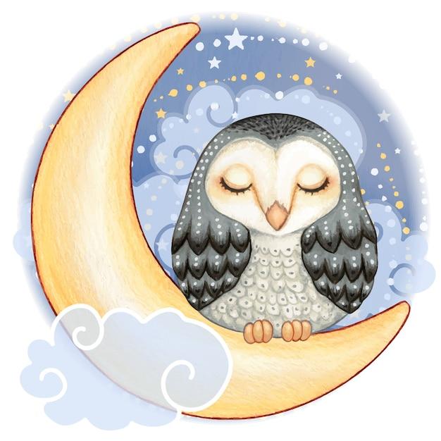 Coruja-das-torres em aquarela fofa dormindo na lua em uma noite estrelada Vetor Premium