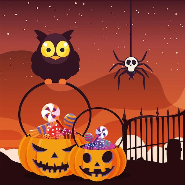 Coruja de celeiro com doces de halloween na cena do cemitério Vetor Premium