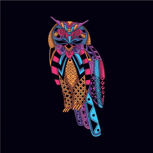 Coruja decorativa na cor neon de brilho Vetor Premium