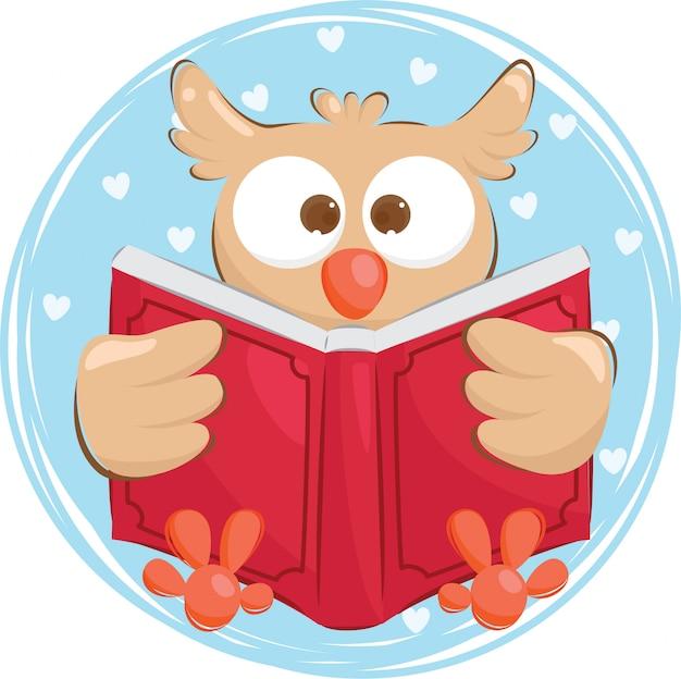 Coruja dilligent, lendo um livro Vetor Premium