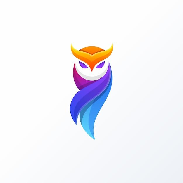 Coruja full color design conceito ilustração vector template Vetor Premium