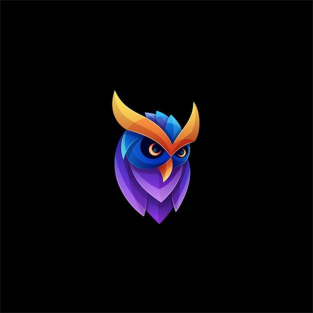Coruja pose gradiente logotipo colorido. Vetor Premium