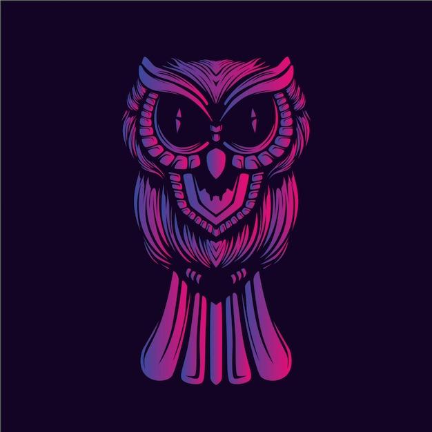 Coruja rosto decorativo brilho cor trabalho artístico Vetor Premium