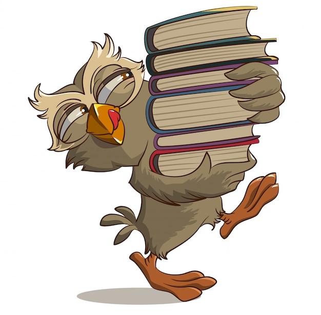 Coruja satisfeita carrega livros Vetor Premium