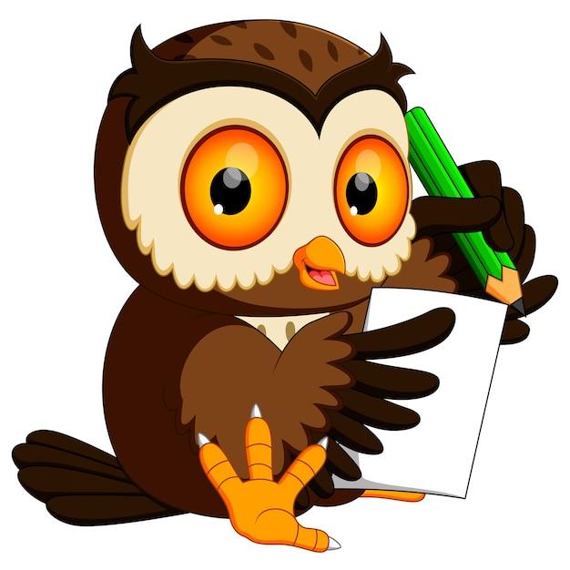 Coruja segurando o lápis e escrevendo Vetor Premium