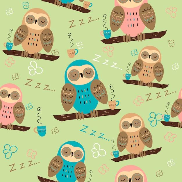 Corujas dormindo em um galho. padrão sem emenda para pijama. Vetor Premium
