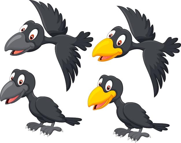 Corvo bonito dos desenhos animados Vetor Premium