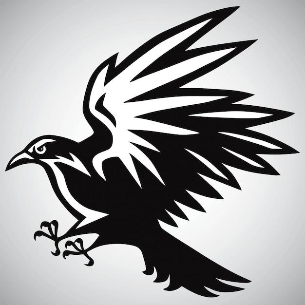 Corvo corvo logo preto e branco vector Vetor Premium