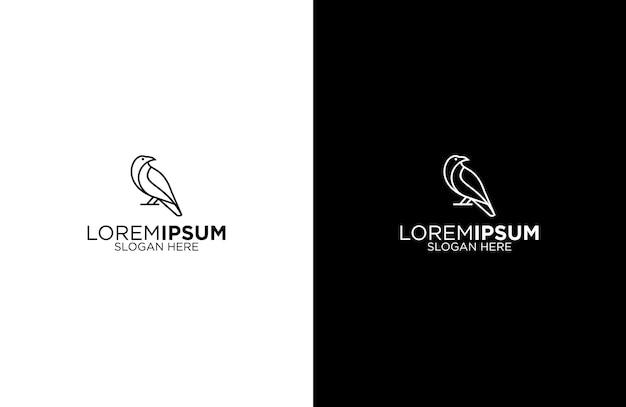 Corvo linha arte logotipo design ilustração Vetor Premium