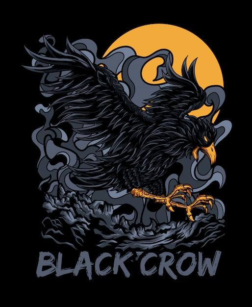 Corvo negro Vetor Premium