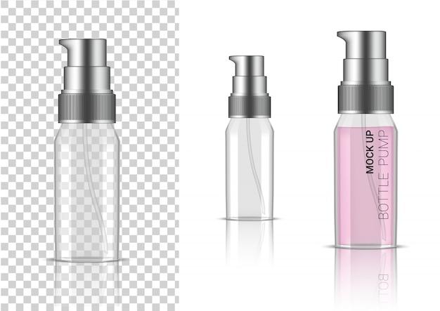 Cosmético ou loção transparente realístico da bomba da garrafa 3d para o produto de skincare que empacota com tampão de prata Vetor Premium
