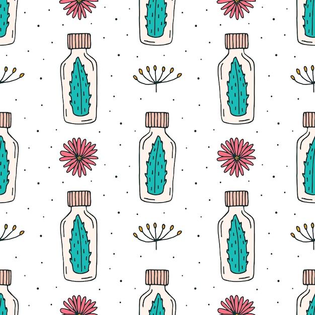 Cosméticos orgânicos doodle padrão sem emenda de mão desenhada linha arte Vetor Premium
