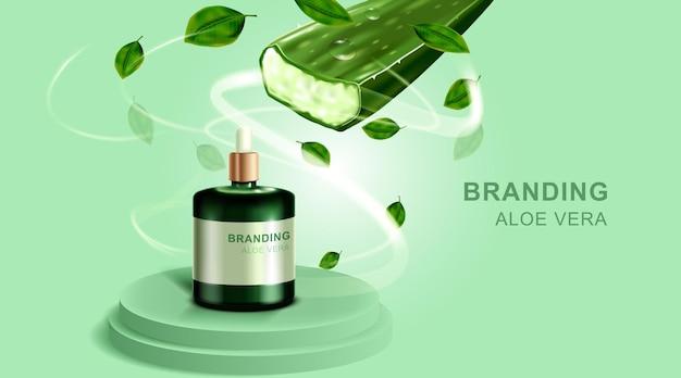 Cosméticos ou produtos para a pele. garrafa e aloe vera com fundo verde. Vetor Premium