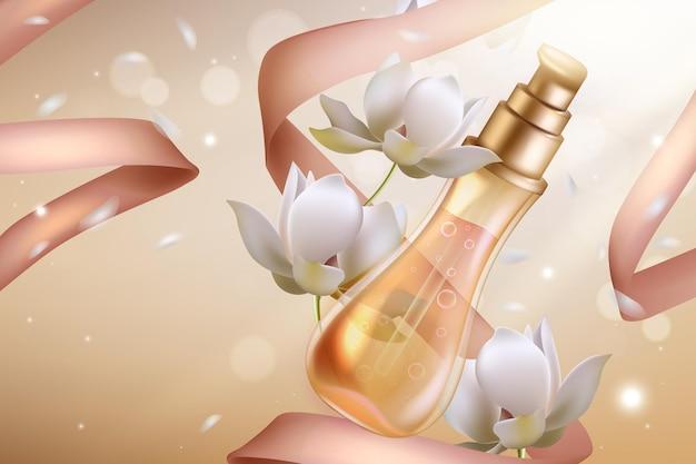 Cosméticos perfume de flor de laranjeira Vetor Premium
