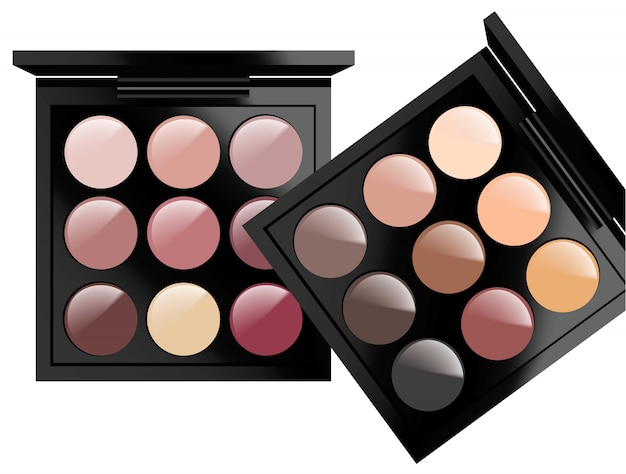 Cosméticos realistas definidos no fundo branco. sombras de olhos coleção nude pastel colors. embalagem de cosméticos, anúncios, maquetes Vetor Premium