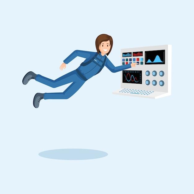 Cosmonauta flutuando em gravidade zero, pressionando o botão no painel de controle da nave espacial Vetor Premium