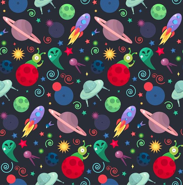 Cosmos e ufo conceito no padrão sem emenda Vetor Premium