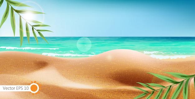 Costa do mar tropical e fundo de folhas exóticas. praia de verão com reflexo do sol Vetor grátis
