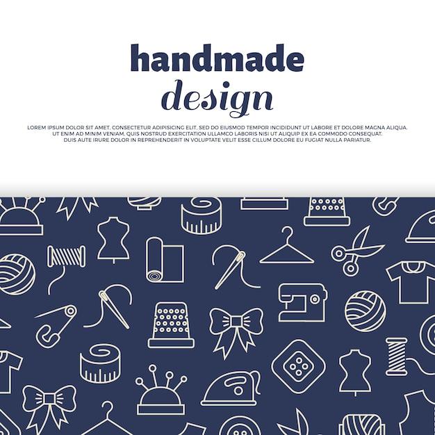 Costura, bordado, handwork Vetor Premium