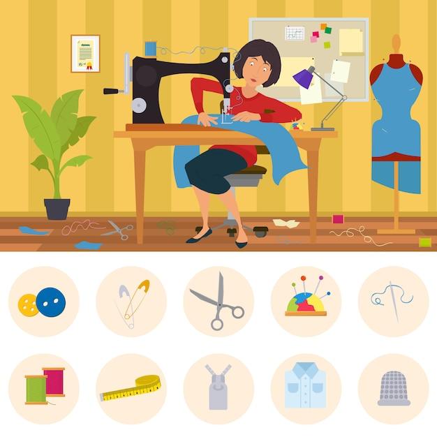 Costureira envolvida em alfaiataria. mulher costura roupas na alfaiataria. taylor costura roupas sob encomenda em uma oficina em casa. Vetor Premium