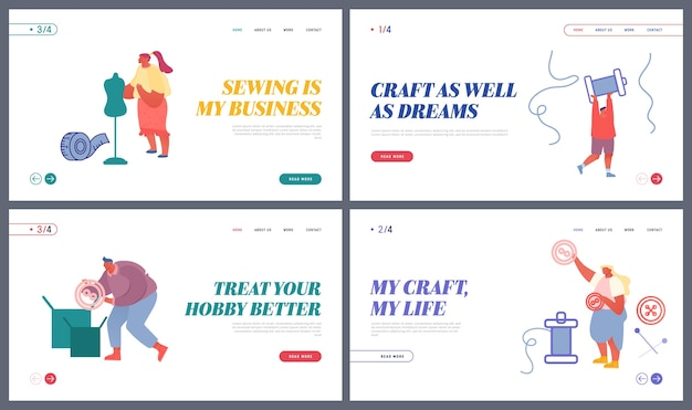 Costureiras criam página de destino do site de roupas e roupas Vetor Premium