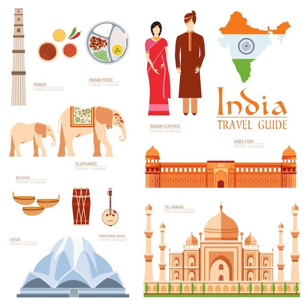 Country india viagem guia de férias de bens Vetor Premium