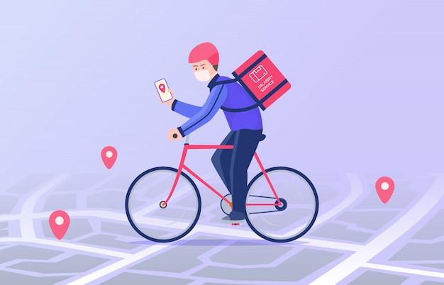 Courier andar de bicicleta e vestindo o pacote de entrega de máscara Vetor Premium