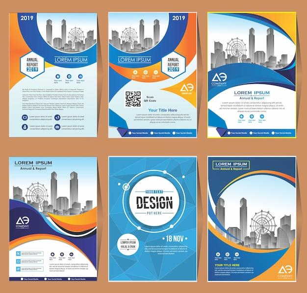 Cover set template a4 size design de brochura comercial Vetor Premium