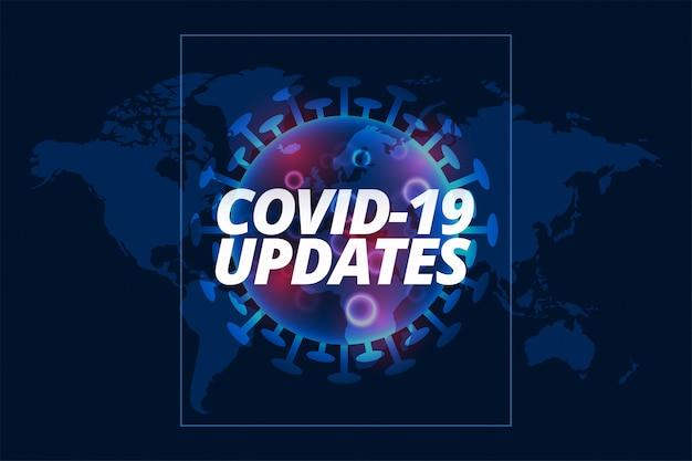 Covid-19 atualiza plano de fundo com modelo de célula de vírus Vetor grátis