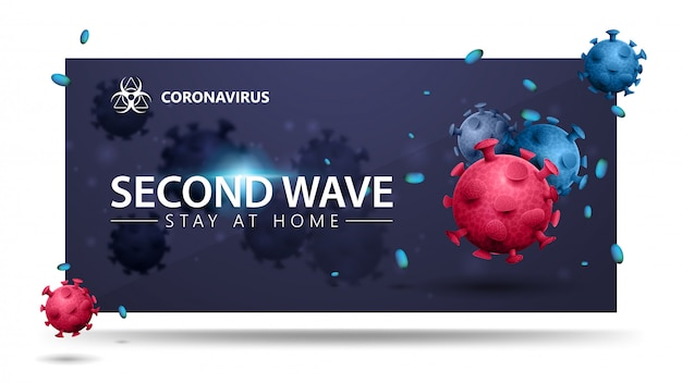 Covid-19, conceito de segunda onda. banner azul com moléculas de coronavírus 3d rosa e azul. banner 3d com design moderno. coronavírus 2019-ncov. Vetor Premium