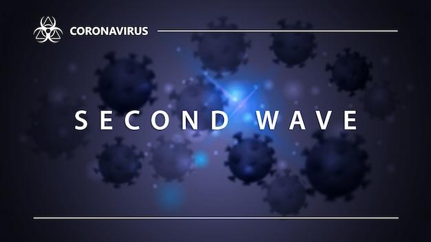 Covid-19, conceito de segunda onda. banner com manchete branca com moléculas de coronavírus no fundo. fundo de coronavírus nas cores azuis para site ou impressão com design moderno Vetor Premium