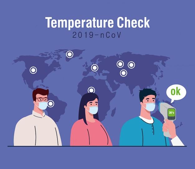 Covid 19 coronavírus, mão segurando o termômetro infravermelho para medir a temperatura corporal, as pessoas verificam a temperatura Vetor Premium