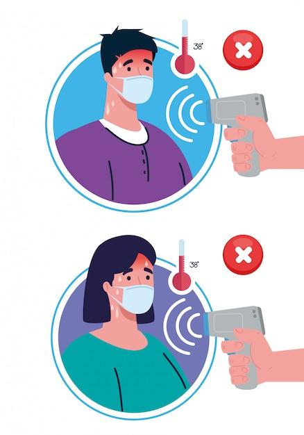 Covid 19 coronavírus, mãos segurando termômetro infravermelho para medir a temperatura corporal, casal verificar temperatura Vetor Premium