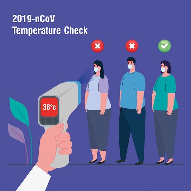 Covid 19 coronavírus, pessoas em teste com termômetro infravermelho para medir a temperatura corporal Vetor Premium