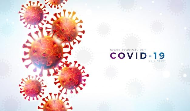 Covid19. projeto de surto de coronavírus com célula de vírus caindo e carta de tipografia sobre fundo claro. ilustração em vetor 2019-ncov corona virus no tema epidêmico da sars perigosa para banner. Vetor grátis