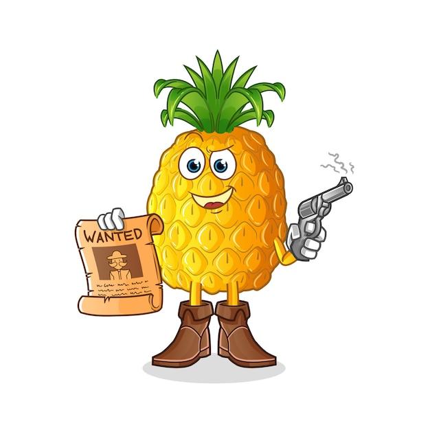 Cowboy abacaxi segurando arma e ilustração de cartaz de procurado Vetor Premium
