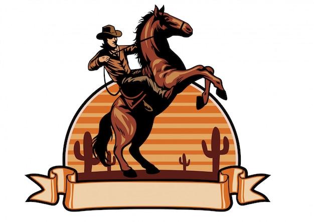 Cowboy andar a cavalo Vetor Premium