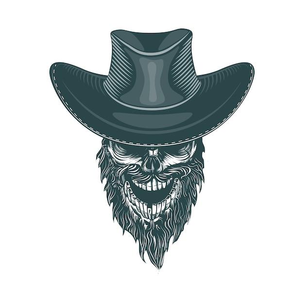 Cowboy barbudo em um chapéu Vetor Premium