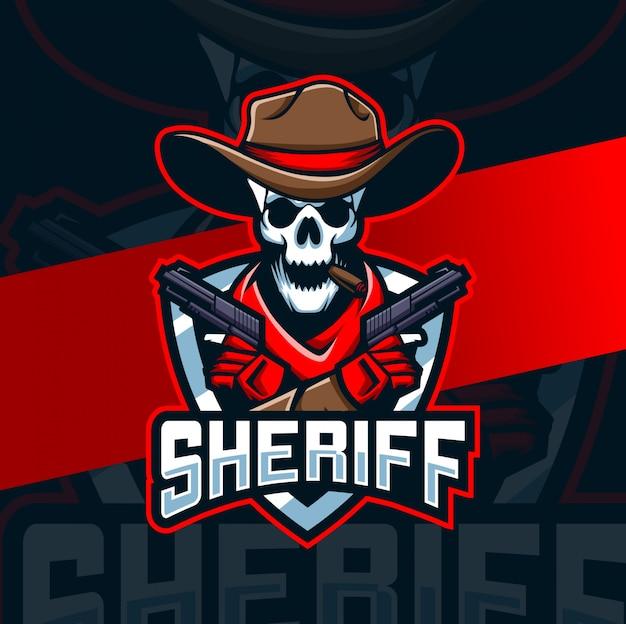 Cowboy caveira com design de logotipo arma mascote esport Vetor Premium