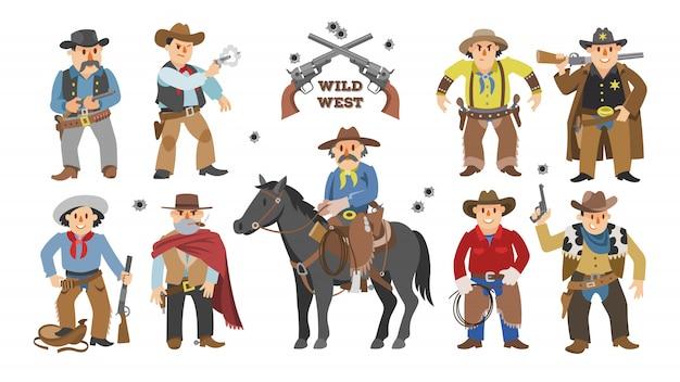 Cowboy cowboy ocidental em caráter descontroladamente cavalo para montou Vetor Premium