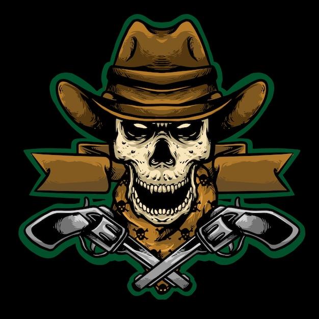 Cowboy crânio com arma mascote design logotipo ilustração Vetor Premium