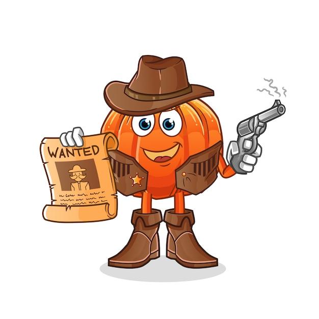 Cowboy de abóbora segurando arma e ilustração de cartaz de procurado Vetor Premium