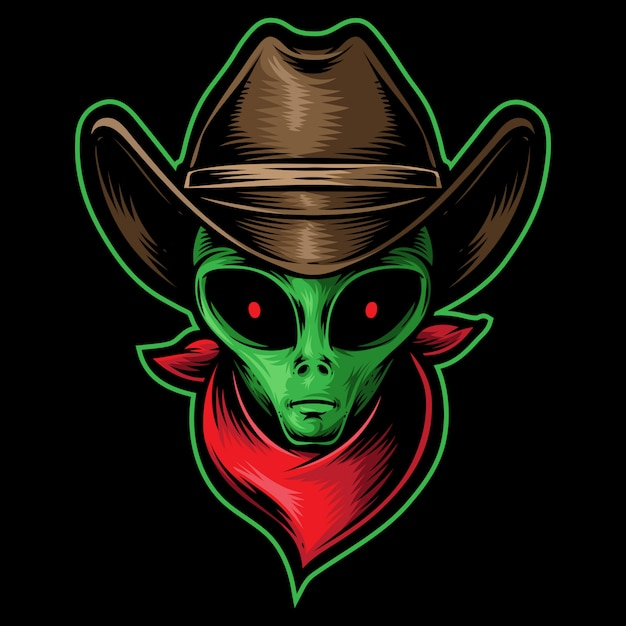 Cowboy de cabeça alienígena Vetor Premium