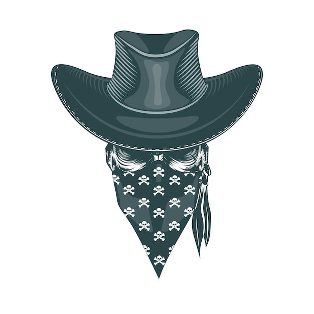 Cowboy de caveira em uma máscara Vetor Premium