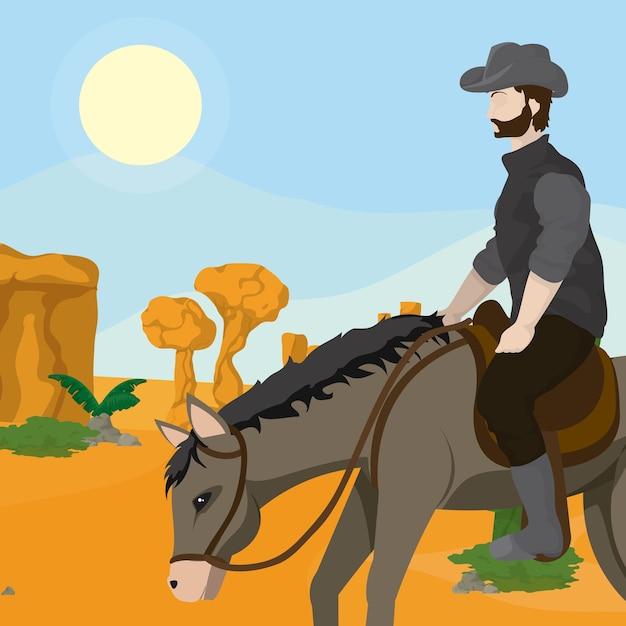 Cowboy e cavalo Vetor Premium