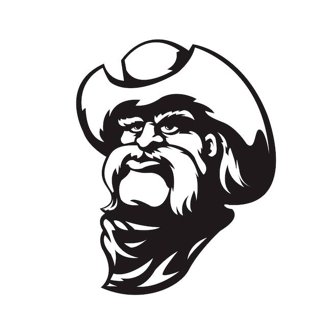 Cowboy em estilo preto e branco Vetor Premium