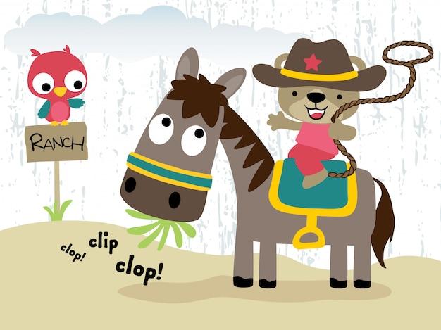 Cowboy engraçado, montando, cavalo, caricatura, com, coruja pequena Vetor Premium