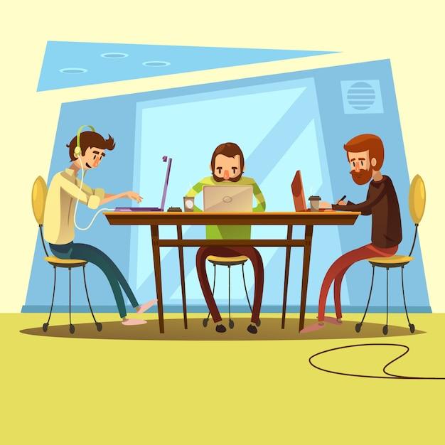 Coworking e negócios com mesa e discussão símbolos cartoon ilustração vetorial Vetor grátis