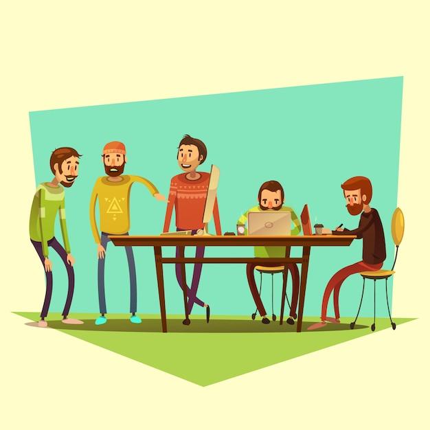 Coworking e pessoas com laptop e café na ilustração em vetor fundo amarelo dos desenhos animados Vetor grátis