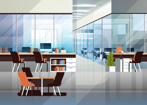 Coworking escritório interior moderno centro criativo local de trabalho Vetor Premium